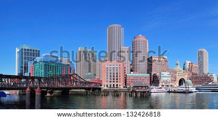 Boston waterfront panorama with skyscrapers and bridge in the morning. - stock photo