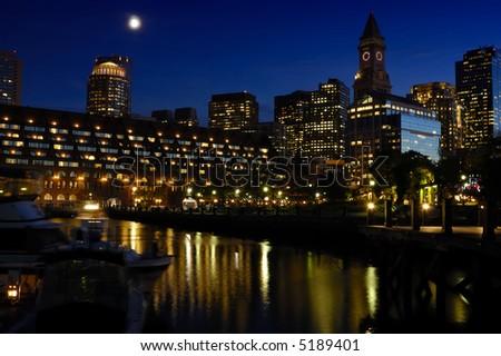 boston waterfront wharf at night