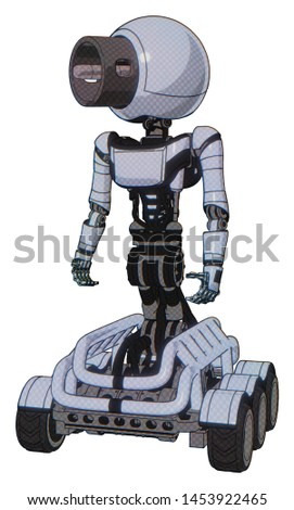 Bot containing elements: cable connector head, light chest exoshielding, ultralight chest exosuit, six-wheeler base. Material: Blue tint toon. Situation: Standing looking right restful pose.