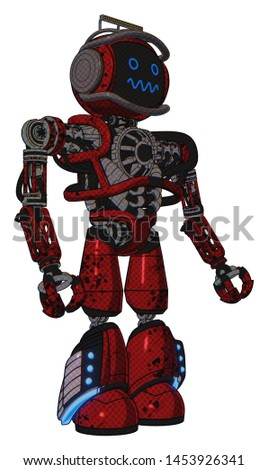 Bot containing elements: digital display head, stunned expression, led and protection bars, heavy upper chest, no chest plating, light leg exoshielding, megneto-hovers foot mod.