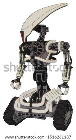 Bot containing elements: flat elongated skull head, heavy upper chest, no chest plating, tank tracks. Material: Yellowed old plastic. Situation: Standing looking right restful pose.