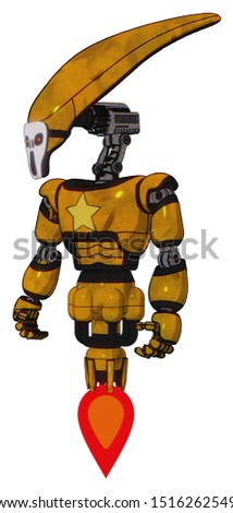 Bot containing elements: flat elongated skull head, light chest exoshielding, yellow star, jet propulsion. Material: Worn construction yellow. Situation: Standing looking right restful pose.