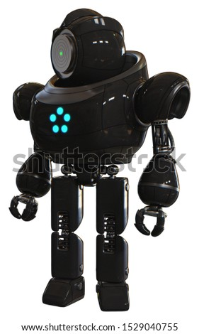 Bot containing elements: green dot eye corn row plastic hair, heavy upper chest, circle of blue leds, prototype exoplate legs. Material: Black. Situation: Standing looking right restful pose.