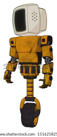 Bot containing elements: old computer monitor, light chest exoshielding, prototype exoplate chest, unicycle wheel. Material: Worn construction yellow. Situation: Standing looking right restful pose.
