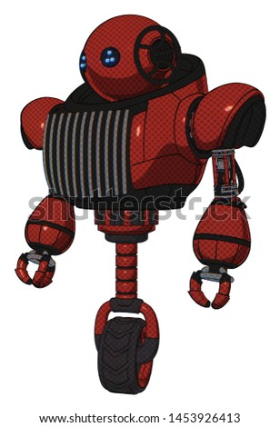 Bot containing elements: oval wide head, blue led eyes, heavy upper chest, chest vents, unicycle wheel. Material: Cherry tomato red. Situation: Standing looking right restful pose.