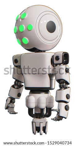 Bot containing elements: round head, green eyes array, light chest exoshielding, prototype exoplate chest, jet propulsion. Material: White. Situation: Standing looking right restful pose.