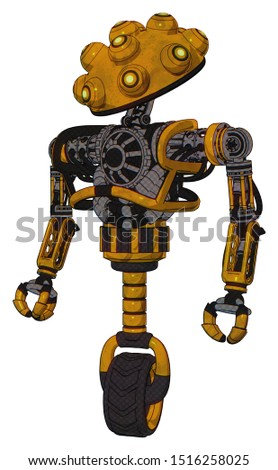Bot containing elements: techno multi-eyed domehead design, heavy upper chest, no chest plating, unicycle wheel. Material: Worn construction yellow. Situation: Standing looking right restful pose.