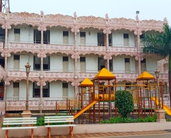 Botad Ahmedabad Gujarat India 30 may 2020 There is a children's play area and a very good temple Garden is yellow and red color inside the gardenEvening time and Green Plant.