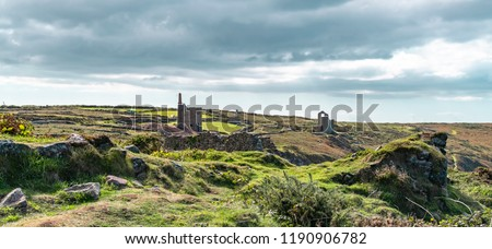 Botallack Tin mines in Cornwall Uk England. . Old tin mine ruins an industry from the past on the cornish coastal path at Old Wheal, also Poldark film location.
