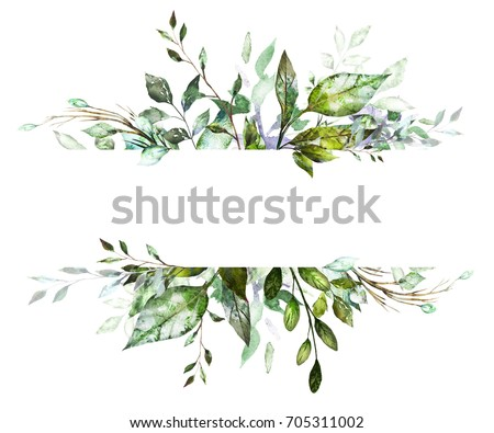 Botanic Card, Watercolor invitation design with herbs and leaves. Hand painted floral background. Template. green  Frame. drawing nature