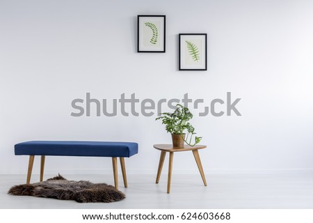 Botanic decoration and boar fur in white simple room