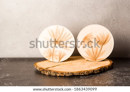 Botanical bas-relief lupine leaves on wooden stand for wall art. 3D Flower plaster decor. Modern home interior of room. Stockfoto ©