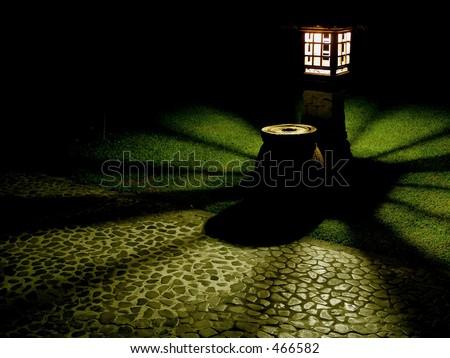 Botanical Garden Night Lantern - stock photo