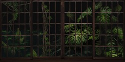 Botanical garden with panoramic windows. Jungle and tropical plants outside the window. Beautiful design for postcard, picture, mural, wallpaper, photo wallpaper.