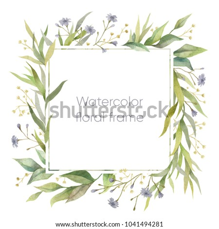 Botanical illustration. Watercolor frame. Floral wreath.