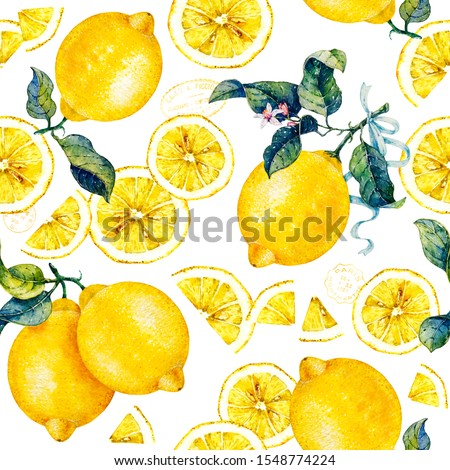Botanical lemon. Botanical watercolor hand drawn illustration. Citrus fruit. Seamless pattern