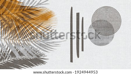 Botanical wall art Foliage line art drawing with abstract shape. Plant Art design for print, cover, wallpaper, Minimal and natural wall art