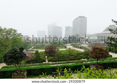 botanique - big garden in center of brussels in misty spring day