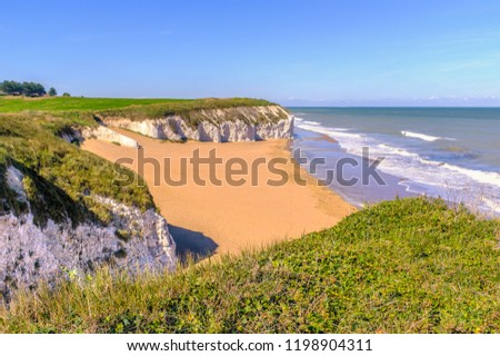 Botany Bay a golden beach on the Thanet, Kent coast on the south east coast of England. Botany Bay is the northernmost of seven bays in Broadstairs. #1198904311
