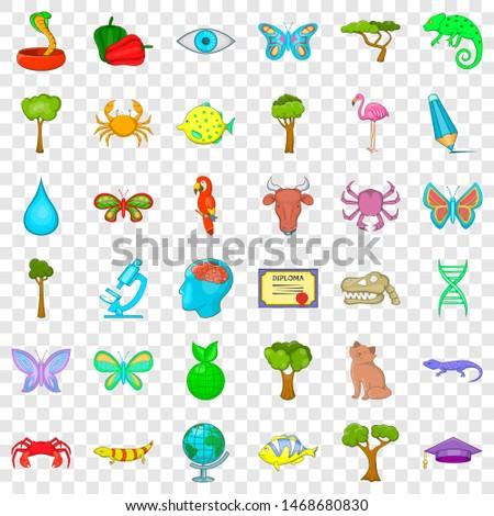 Botany icons set. Cartoon style of 36 botany icons for web for any design