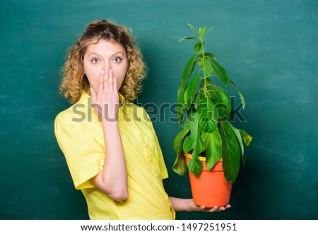 Botany is about plants flowers and herbs. Take good care plants. Plants that sure stress relief home and provide you with sanctuary of peace and tranquility. Florist concept. Girl hold plant in pot. #1497251951