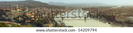 Both cities of Buda and Pesta panorama in the morning light