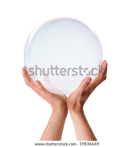 Both hands holding up a translucent ball