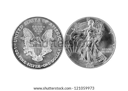 both side of silver dollar isolated on white