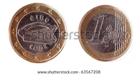 Both sides of a 1 Euro coin from Ireland (Eire) from 2003