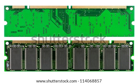 Both sides of a memory chip isolated on white with clipping path