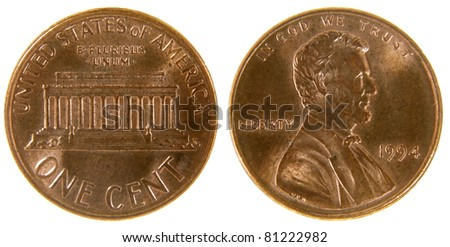 Both sides of a (1994) US penny, isolated on a white background.