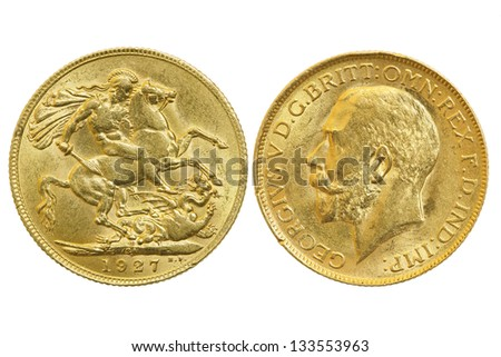 both sides of sovereign 1927 coin isolated on white
