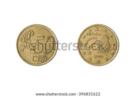 both sides of the coin of 50 euro cents isolated on white background