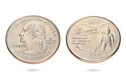 Both sides of twenty five US cents or quarter coin isolated on white background