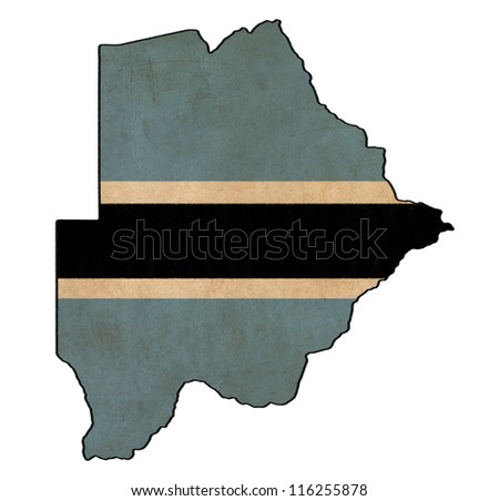 Botswana map on Botswana flag drawing ,grunge and retro flag series
