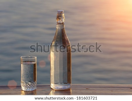 Bottle and a glass of clean water