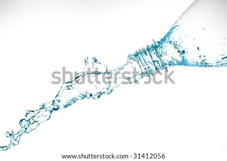 Bottle and creative splashing water.Isolated on white