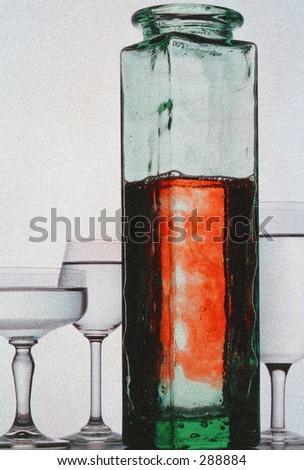 bottle and glass (artistic grain)