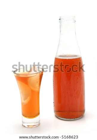 bottle and glass full of ice tea on a white background