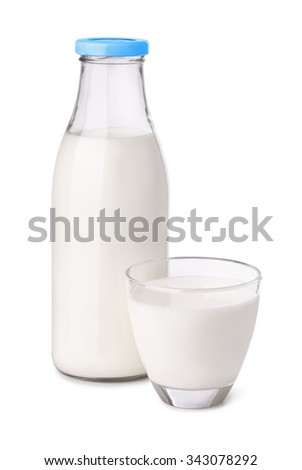 Bottle and glass of milk isolated on white #343078292