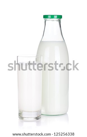 Bottle and glass of milk. Isolated on white background