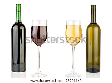 Bottle and glass of red wine and a bottle and a glass of white wine. White background.