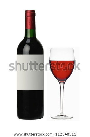 bottle and glass of red wine isolated on white background