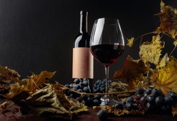 Bottle and glass of red wine on a table with dried vine leaves and blue grapes. On a bottle empty old paper label, free space for your text. Selective focus.