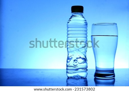 Bottle and glass of water Photo of a bottle and a glass of drinking water