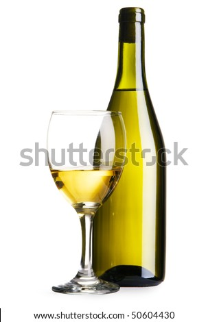 Bottle and glass of white wine, isolated on white background - stock photo