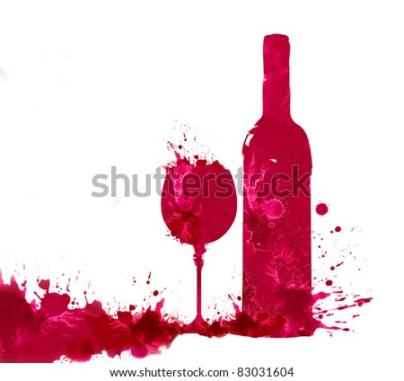 Bottle and glass of wine in watercolor technique on a white background