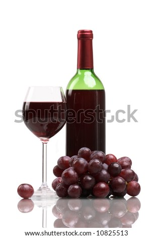 Bottle and glass of  wine  on white background - stock photo