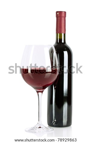 Bottle and glass with wine isolated on white