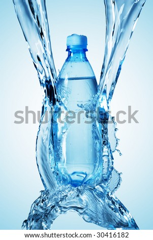 bottle being poured in a water on blue background